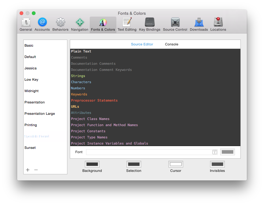 The Specials Board Color Theme previewed in the Xcode Fonts and Colors editing panel